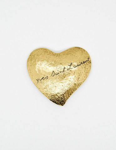 Vintage YSL Brushed Gold Signature Heart Brooch - Amarcord Vintage Fashion