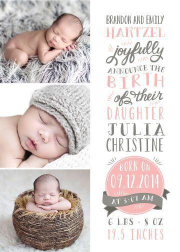 baby girl announcement wording