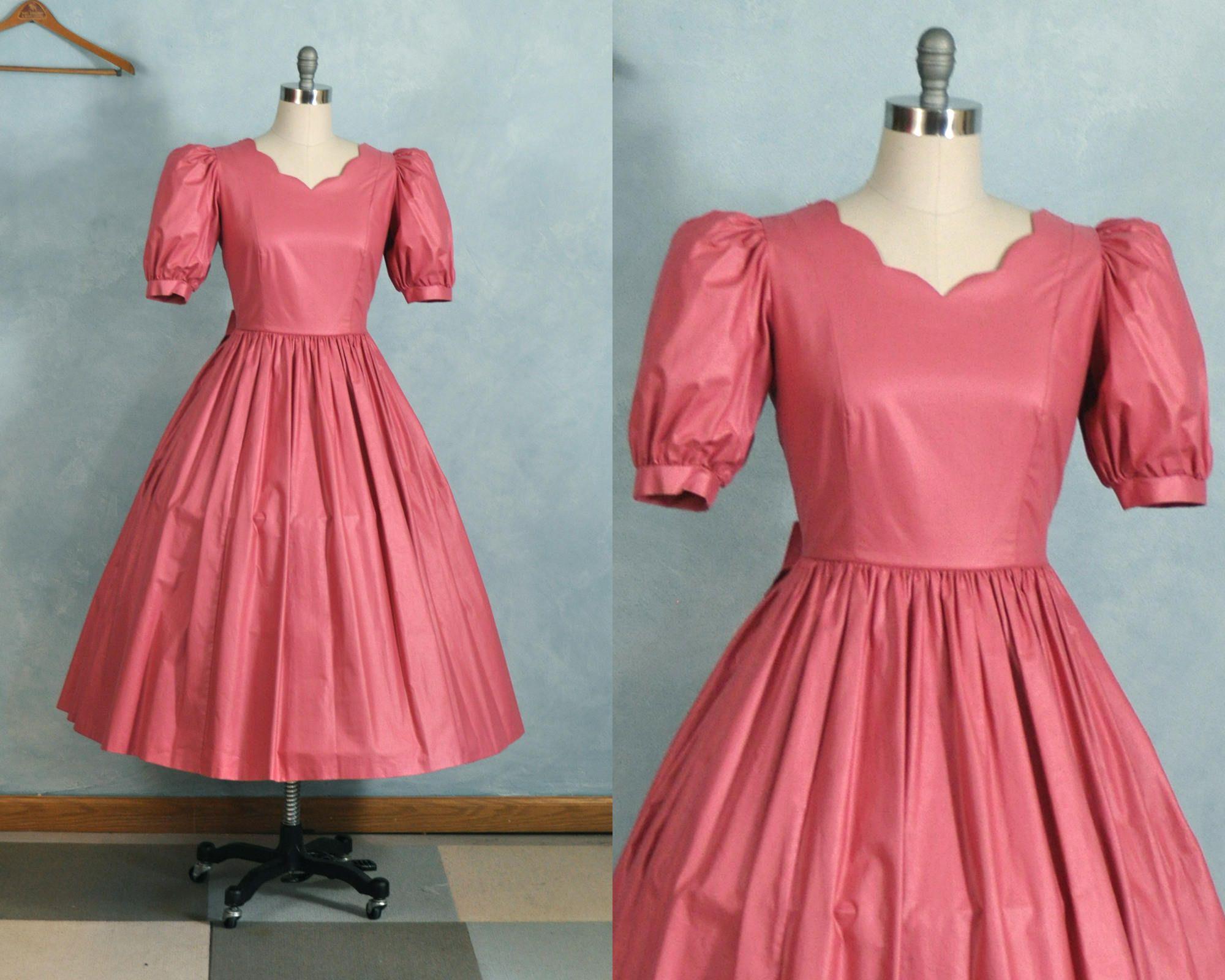 VTG Laura Ashley Dress US 12, UK 16 Pink Cotton Tea Length | Pinup ...
