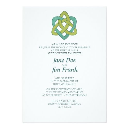 Celtic Formal Catholic Wedding Invitation  Catholic Wedding And
