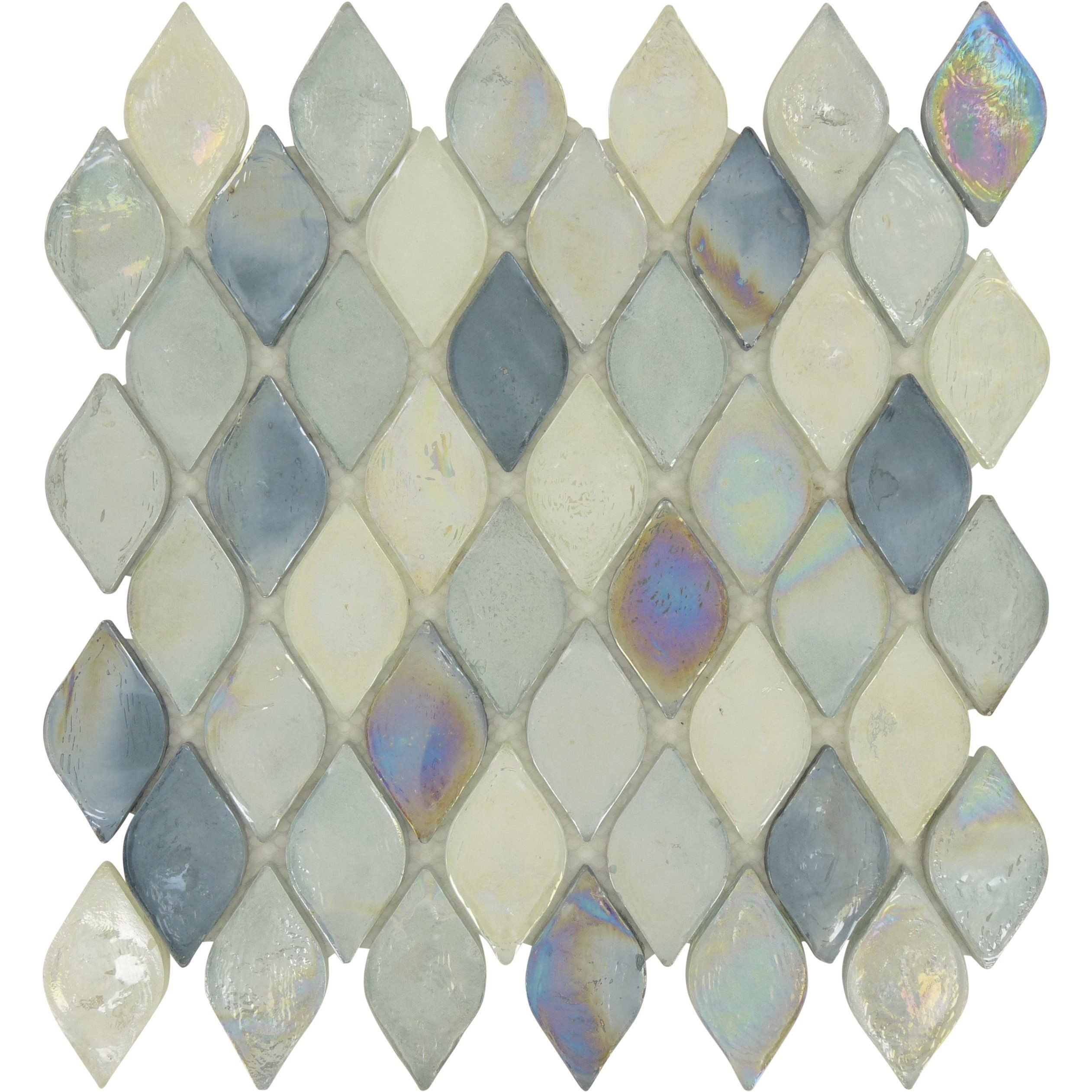 dd47f542a6aa Atlantis Leaf Blue Glossy and Iridescent Glass Tile