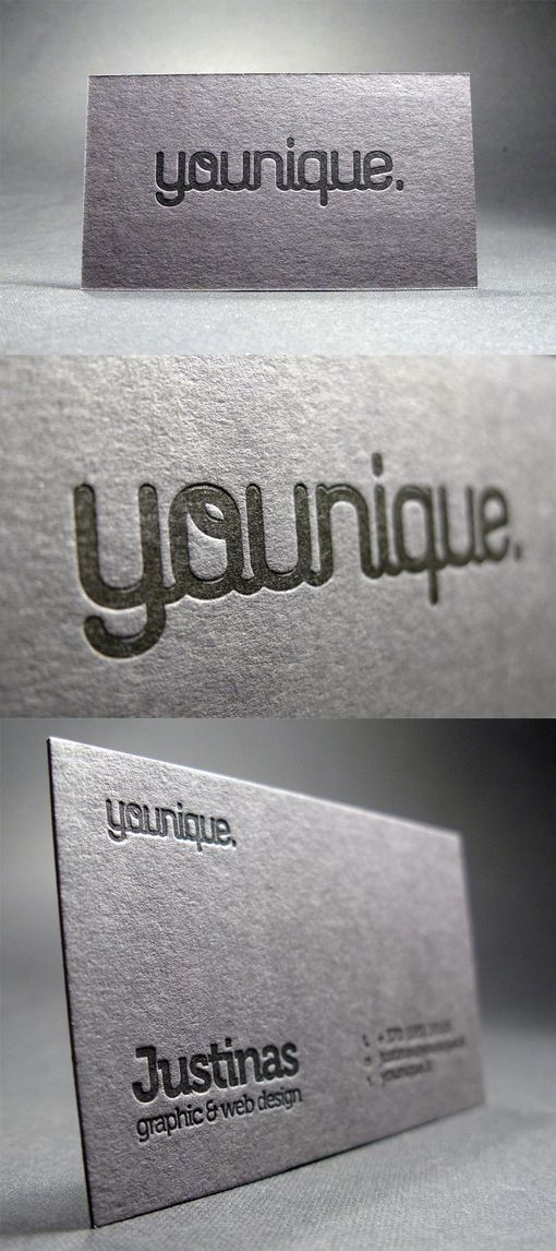 Creative Typography Black On Black Letterpress Business Card