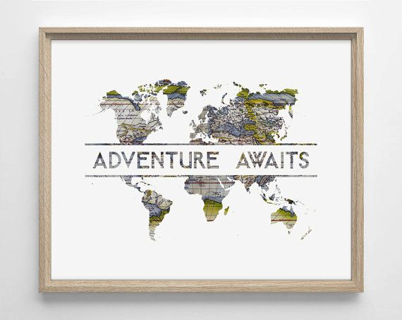Adventure awaits world map art deco typography by staygoldmedia adventure awaits world map art deco typography by staygoldmedia giclee art prints pinterest art deco typography art deco and summer weddings gumiabroncs Gallery