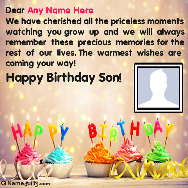 Special Birthday Greetings For Son With Name Birthday Cake With