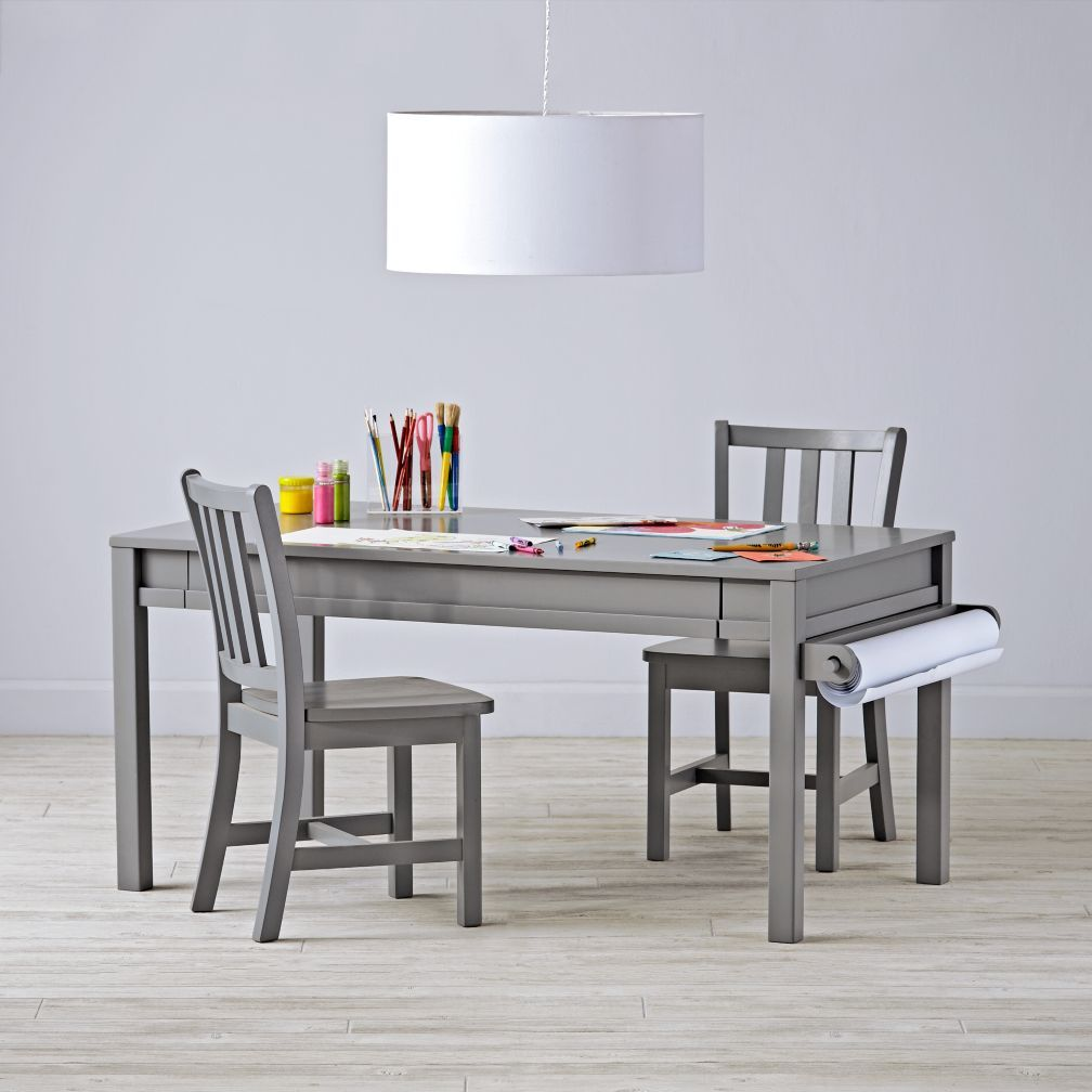 Complete adjustable grey activity table set table