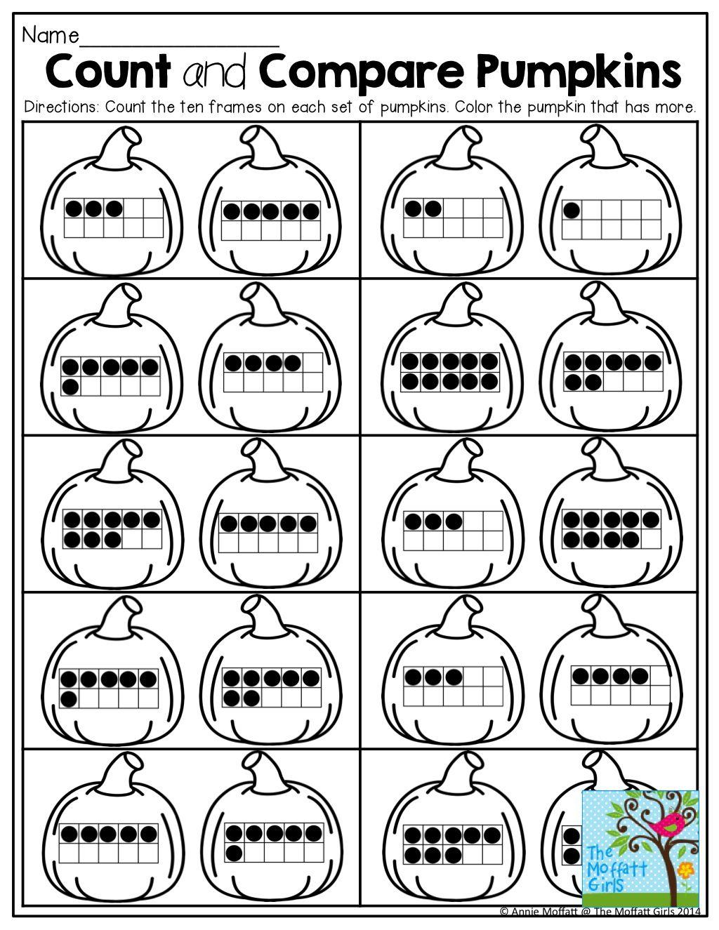 Workbooks ten frame worksheets printables : Count and Compare Pumpkins with Ten Frames! | KinderLand ...