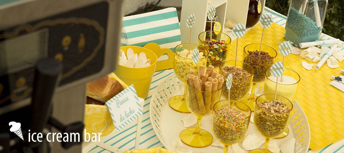 Ice cream bar. Esta mesa es ideal para los caterings veraniegos, llenará de luz y color cualquier fiesta o evento en el que esté presente. Lo mejor: la máquina de helado soft. http://www.hambroneta.com/mesas-tematicas