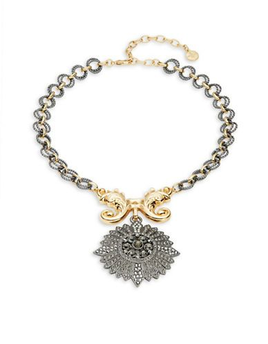 R.J. Graziano Two-Tone Pendant Necklace Women's Grey