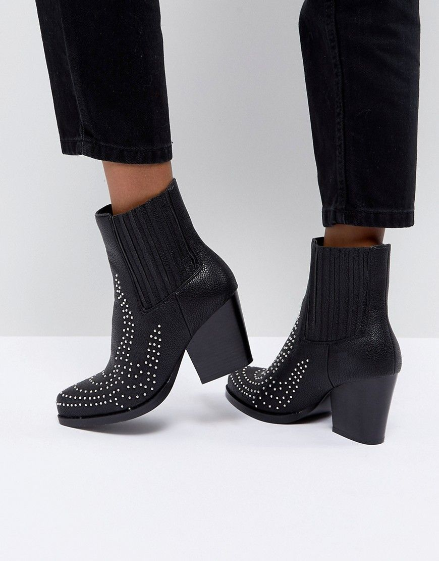 4f83eb5aaa3 PrettyLittleThing Studded Western Ankle Boot - Black