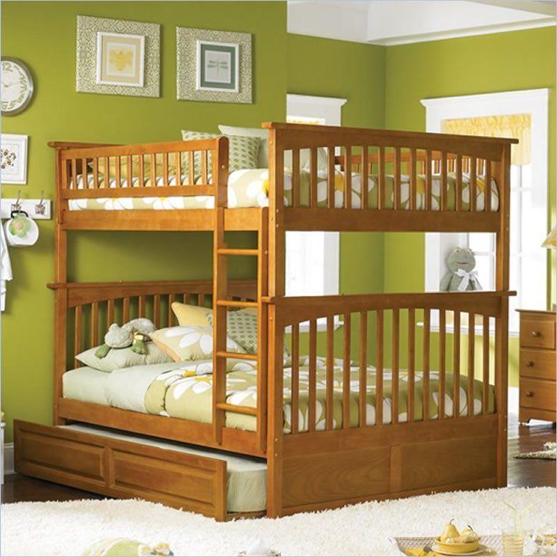 Atlantic Furniture Columbia Full Over Full Bunk Bed in Caramel Latte ...
