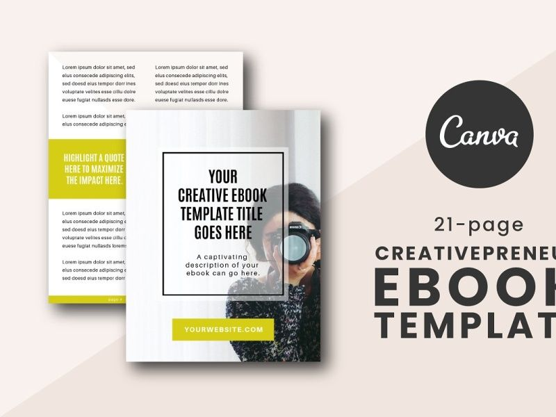 Creativepreneur eBook Canva Template  Creativepreneur eBook Canva TemplateLooking to make a pretty eBook however style is holding you back? Use this guide to WOW your audience! This template has everything you wish to create associate intentional and like an expert designed eBook.