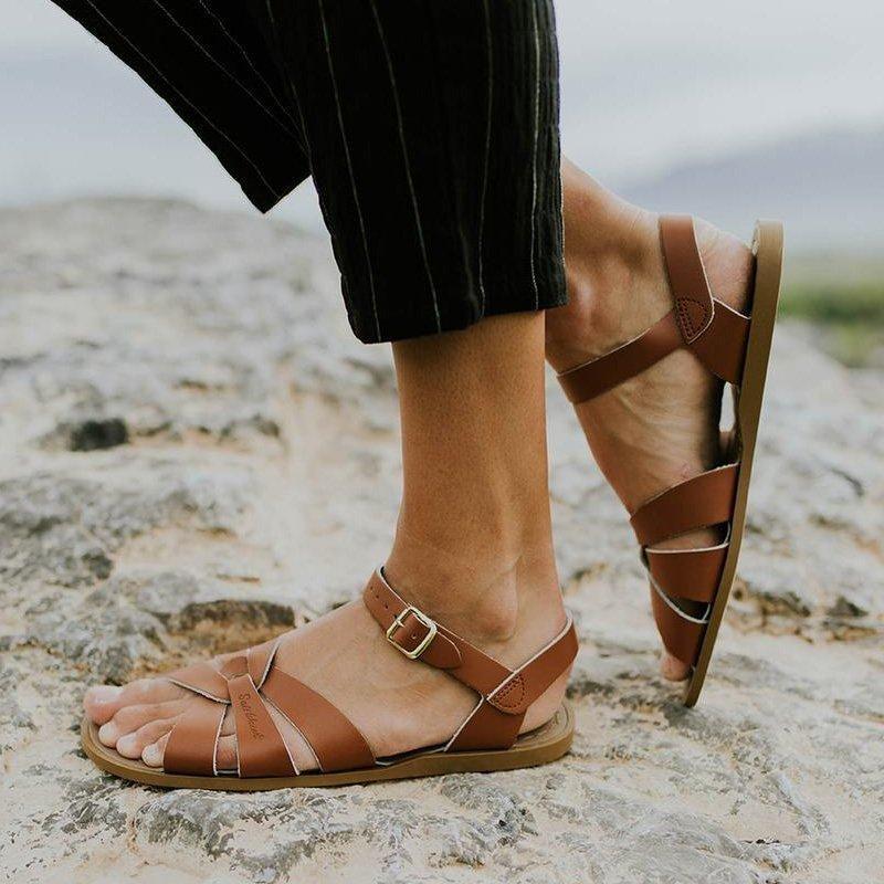 Summer Women Flat Sandals Genuine Leather Ladies Shoes