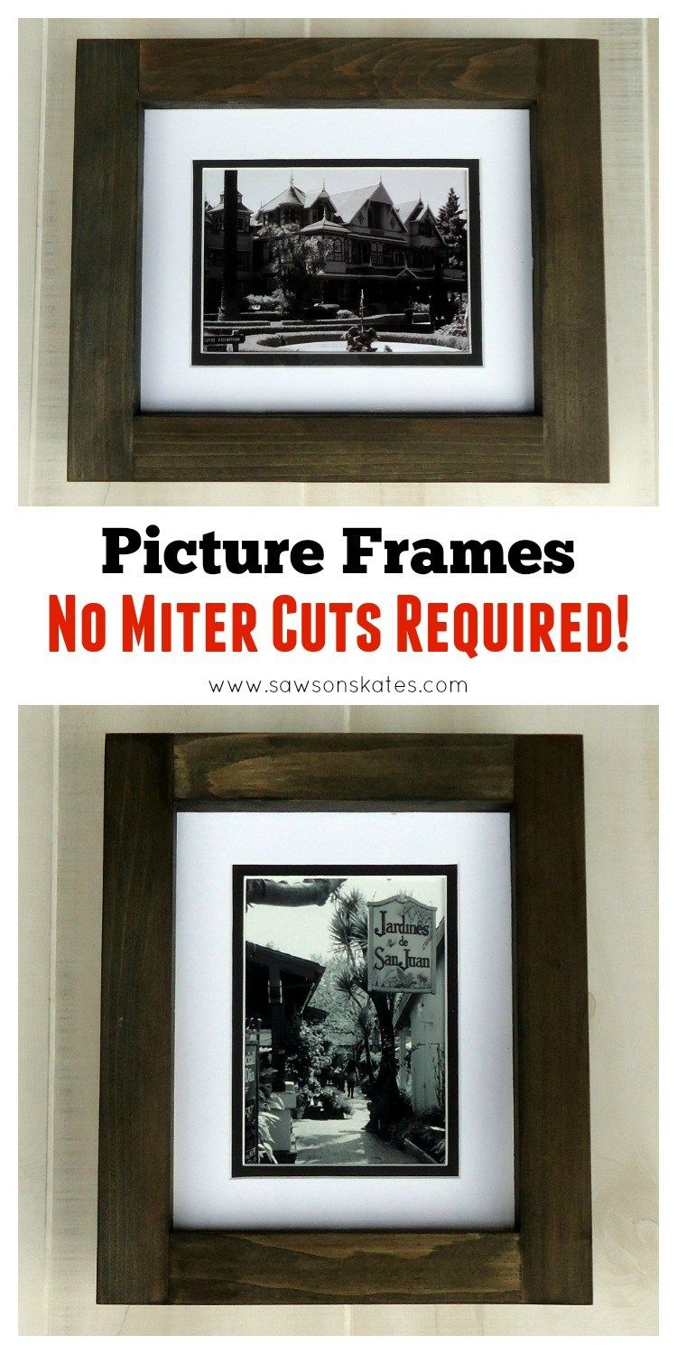 a49a154f2b51 These DIY picture frames are made entirely with straight cuts... no miter  cuts required! Plus the how to plan can be adjusted to make the frames any  size ...