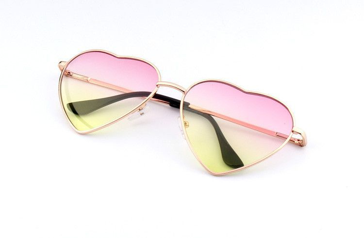Heart Shaped Sunglasses WOMEN metal Reflective LENES Fashion sun GLASSES MEN sports sunglasses