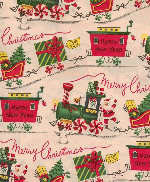 Christmas Vintage Wrapping Paper Santa On Train Vintage