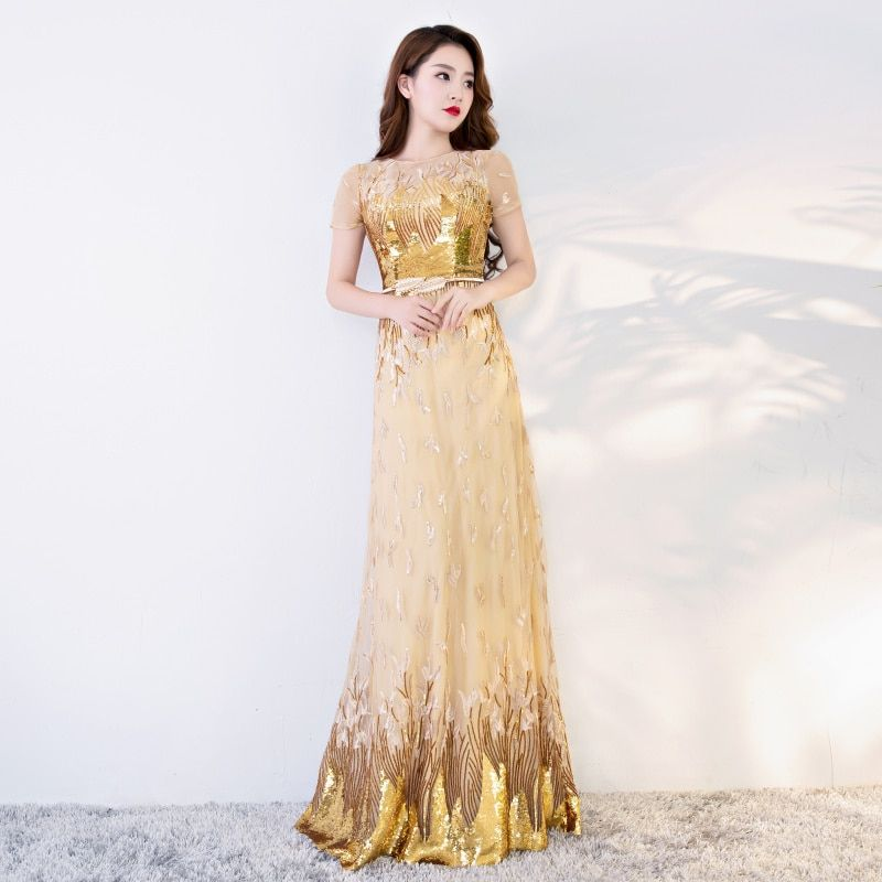 a547945447dce Doparty plus size elegant sexy long party sequin gold evening dress ...