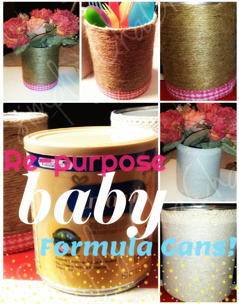 Crafting Re Purpose Your Baby S Formula Cans Diy Home Decor Video Tutorial Baby Formula Cans Formula Can Crafts Baby Formula Containers
