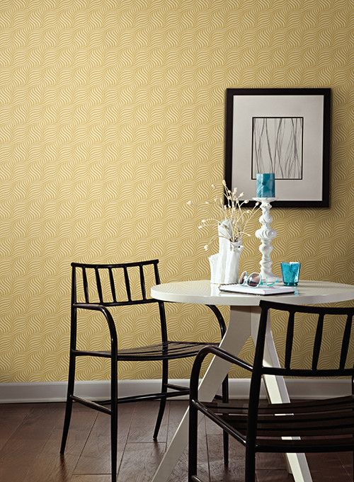 Cross Current Wallpaper in Yellow Gold design by Carey Lind for York ...