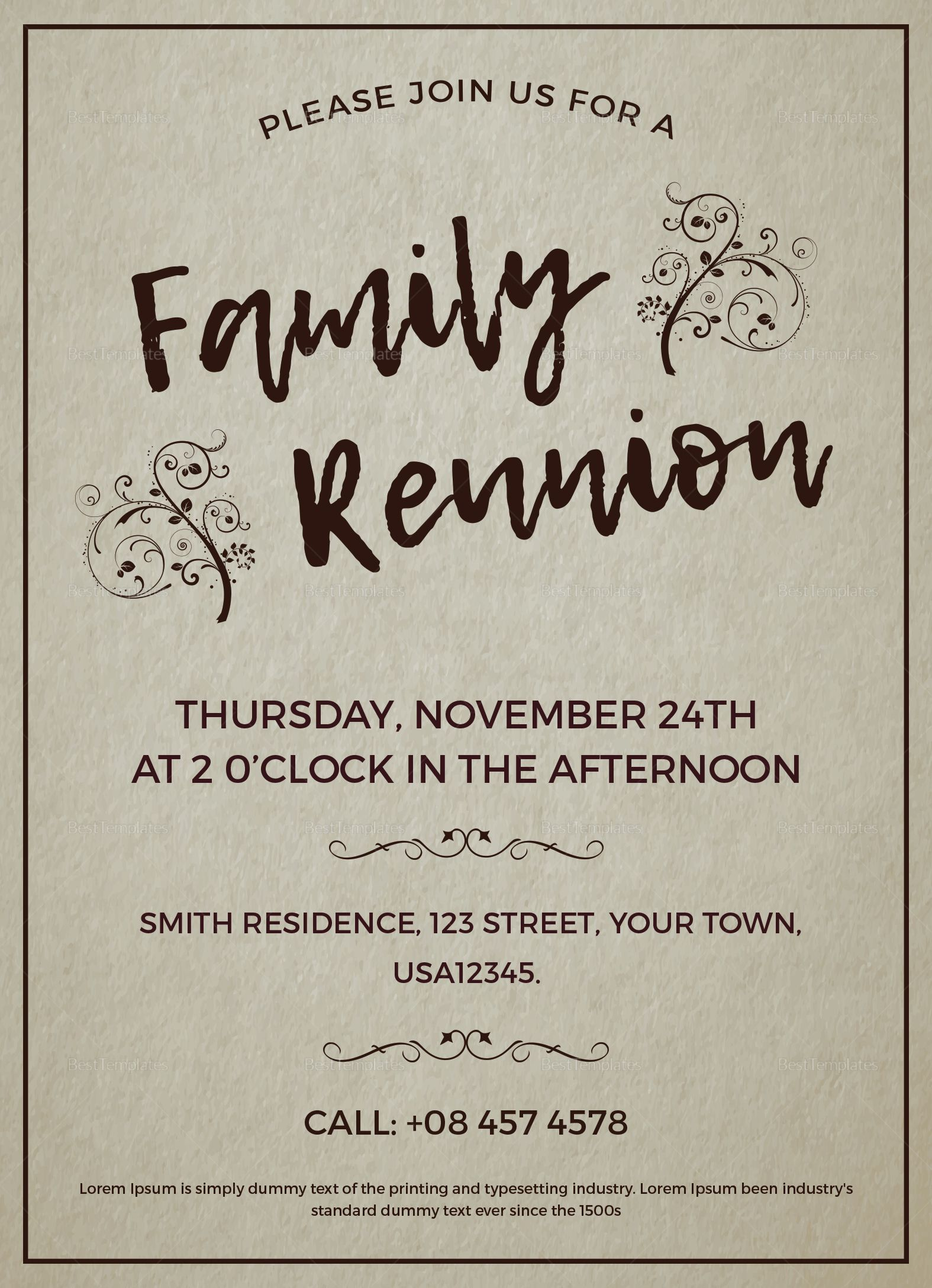 Family Reunion Invitation Template  Family reunion invitations