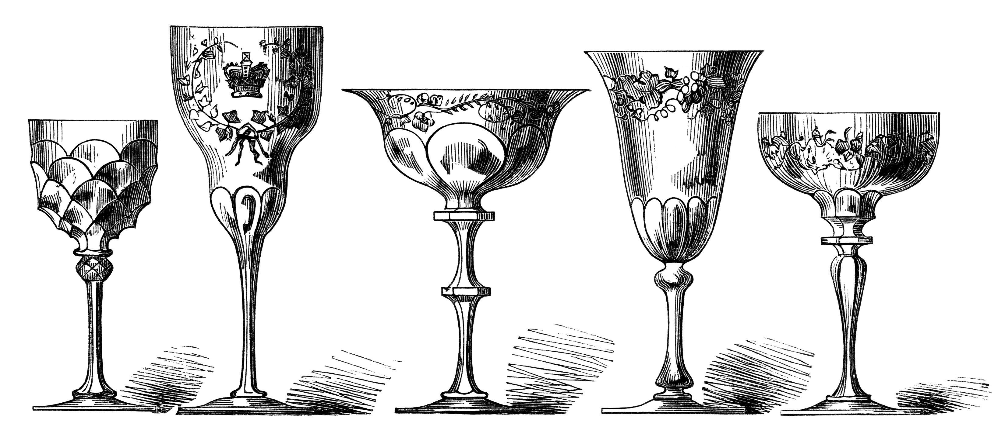 vintage wine glass clip art, antique wine goblet image
