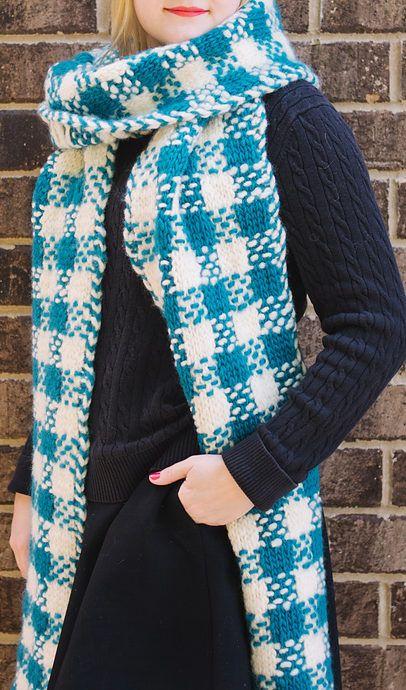 Free Knitting Pattern for Plaid Super Scarf - Easy slip stitch ...