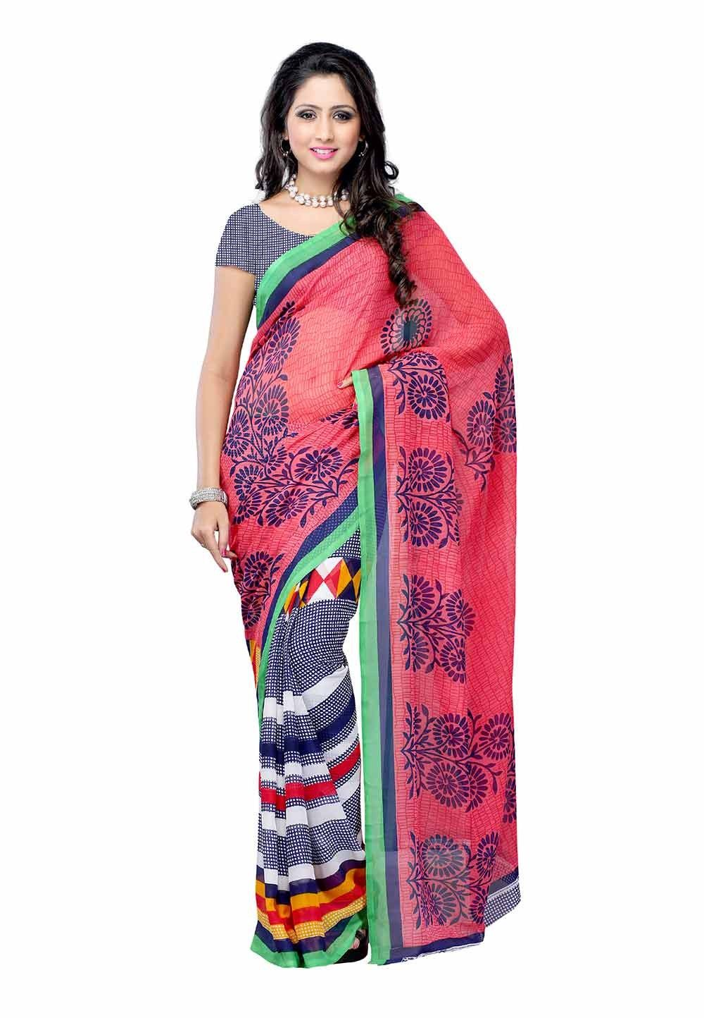 Petra Fab Pink & Violet Colored Dani Georgette Printed Saree