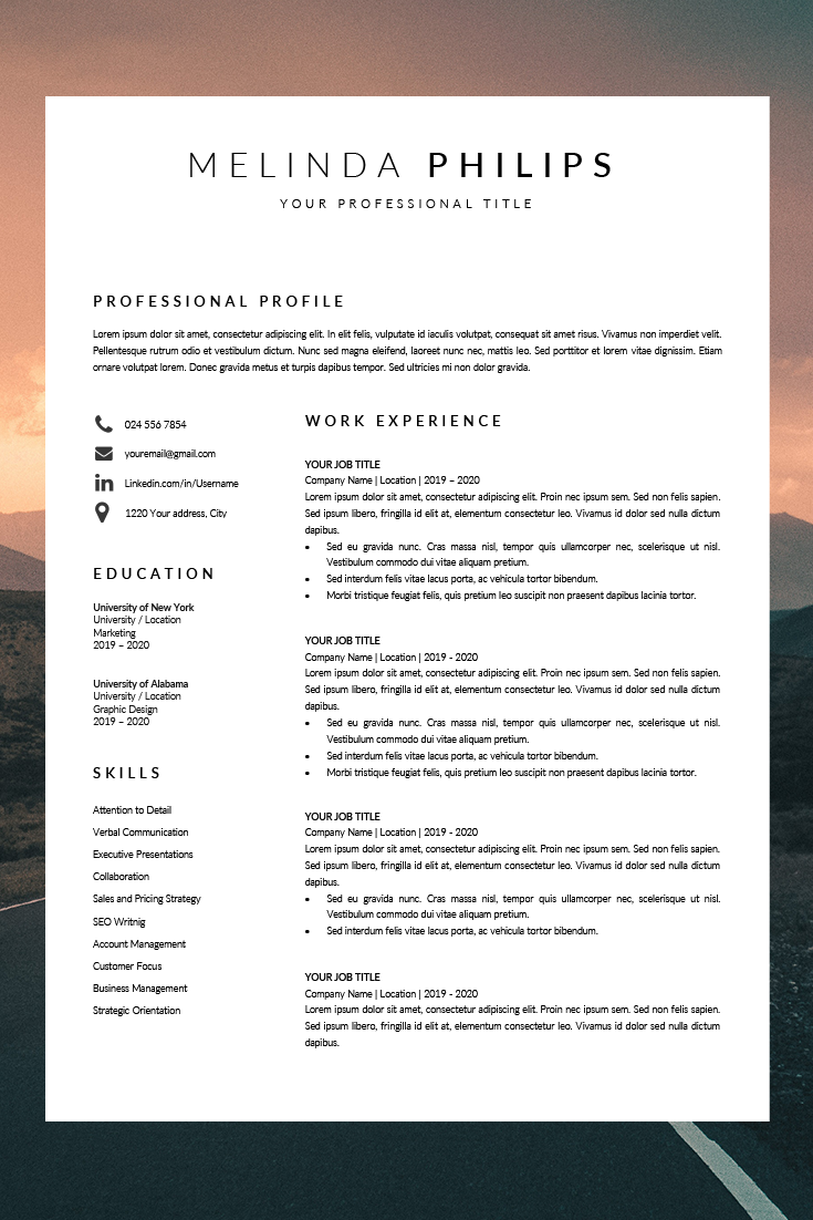 Professional Cv Template Word Resume Template Minimalist Etsy In 2020 Cv Template Word Resume Template Best Resume Format