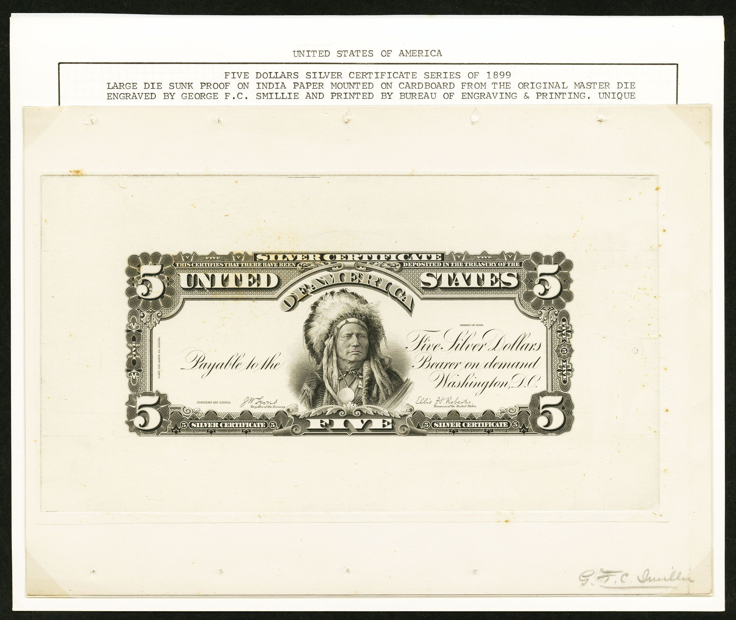 Image of Hessler 361 Fr. 271 $5 1899 Silver Certificate Face Proof | Lot #15007 | Heritage Auctions