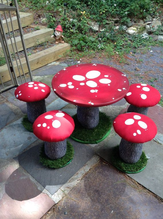 Children S Play Table And Stool Chair Set Mushroom Table Stools