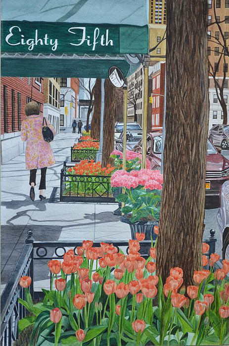 Painting the New York Street. watercolor painting by Swati Singh