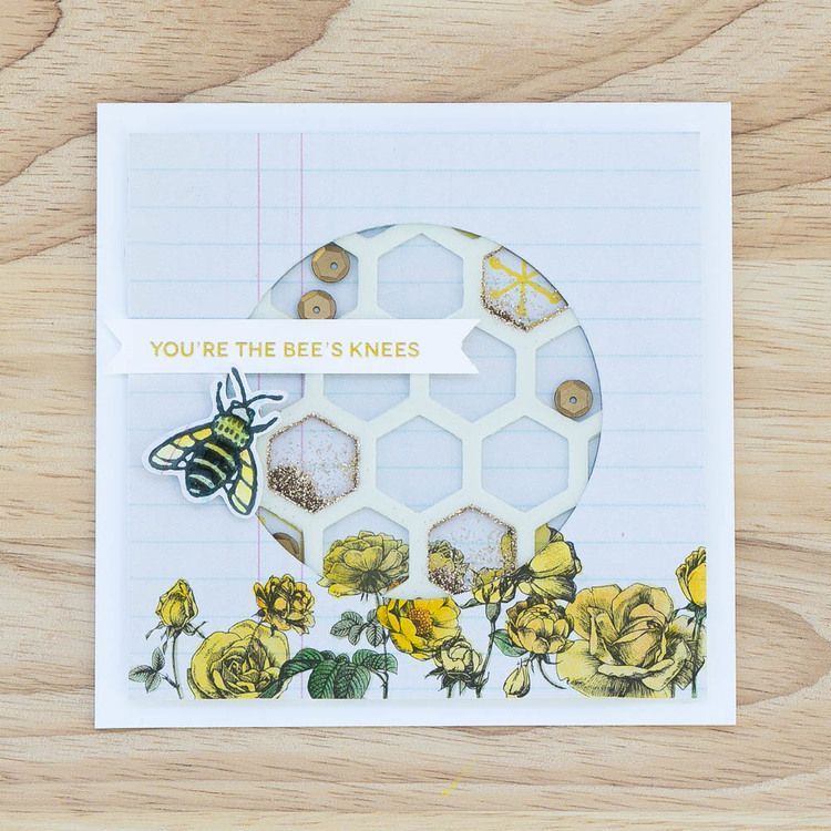 Bee's Knees shaker card with stamped details by @pixnglue