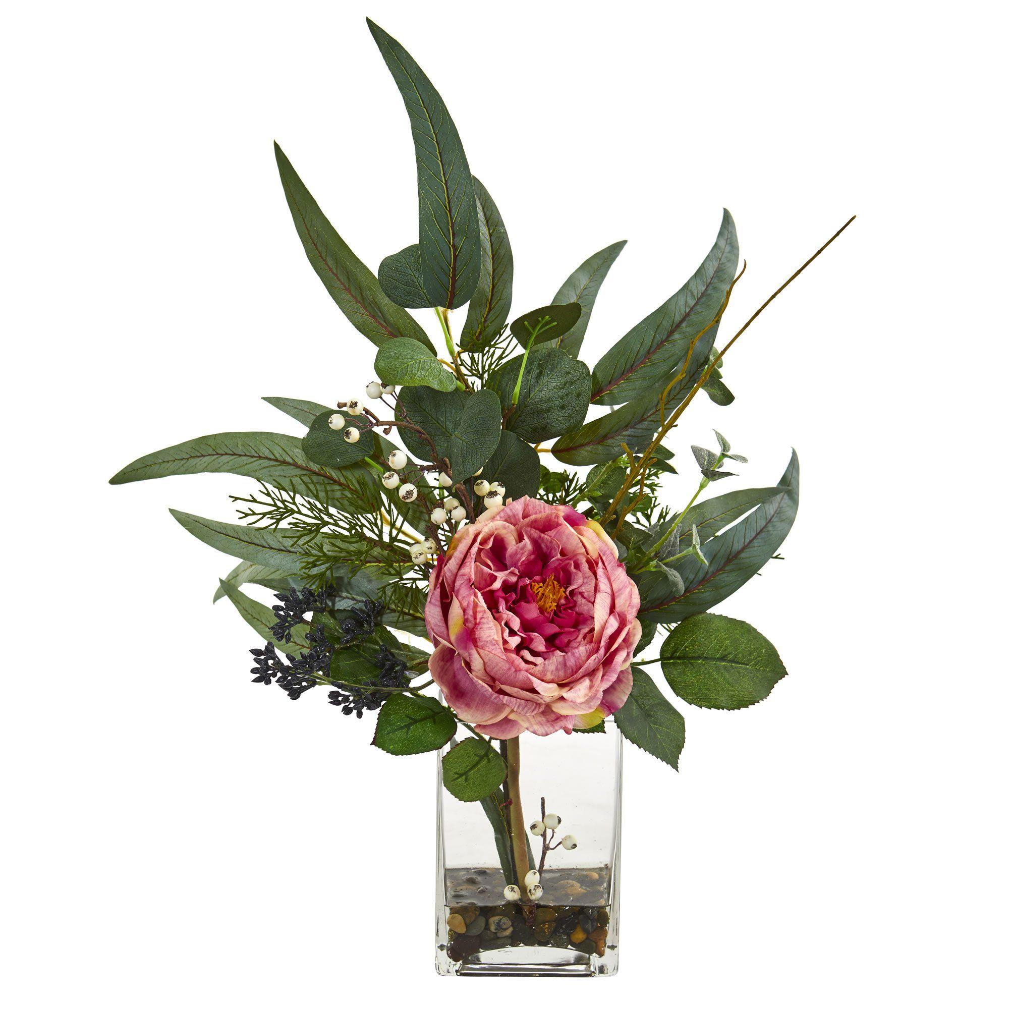 Silk Flowers 21 Inch Pink Rose And Eucalyptus Arrangement