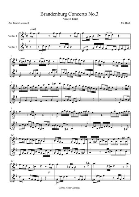 Brandenburg Concerto No  3: Violin Duet | Âm nhacj trong