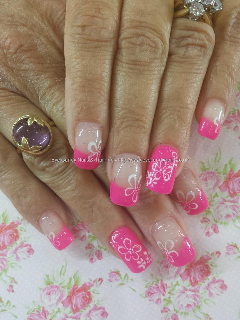 Pink 50 gel with white flower nail art   Nailed it!   Pinterest ...