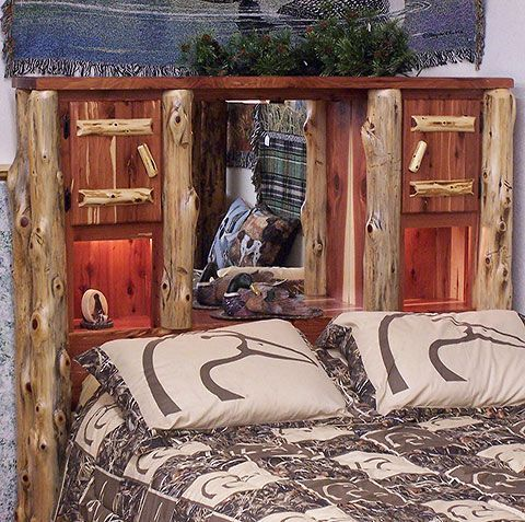 Amish Made Solid Wood Cedar Grove Deluxe Bookcase Headboard Log Cabin Style With Shelves