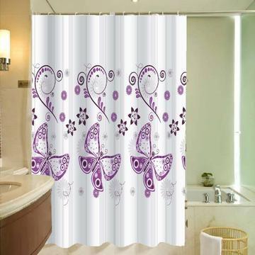 NEW - Purple Butterflies And Pattern Design Shower Curtain ...