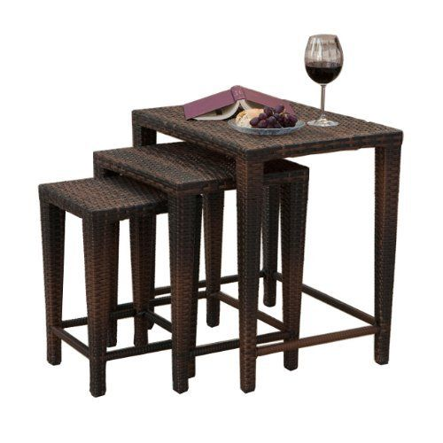 "Mayall Multibrown Wicker Nested Tables (Set of 3) . $144.99. Weather resistant and UV protected. Nested table design allows for compact storage when not in use. Multibrown PE wicker. Small Table:18"" L x 11.25"" W x 11.25"" H - Medium Table: 20.25"" L x 17.25"" W x 14.5"" H - Large Table: 23.5"" L x 17.5"" W x 23.5"" H""; 30lbs (total). Add versatile tables to your outdoor decor with our Mayall Multibrown Wicker Nested Tables. Each of these three different nested tables ..."