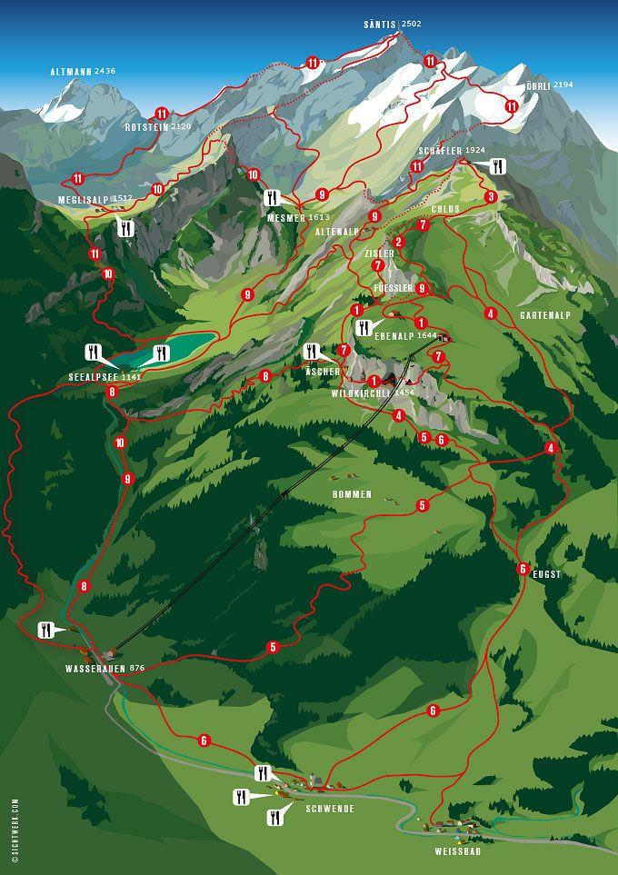 Ubersichts Karte Wanderungen Schweizer Alpen Wanderwege Und Wandern