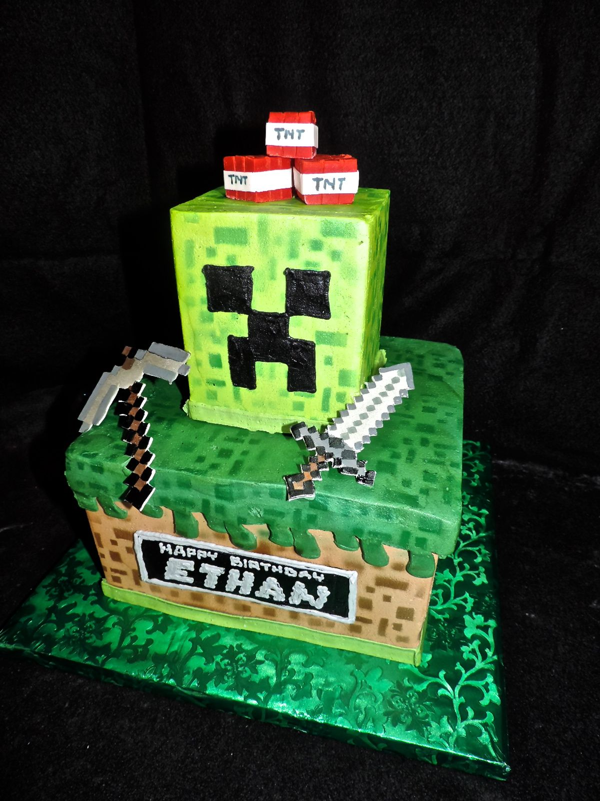 Minecraft Cake All Buttercream Save For The Tnt Sword