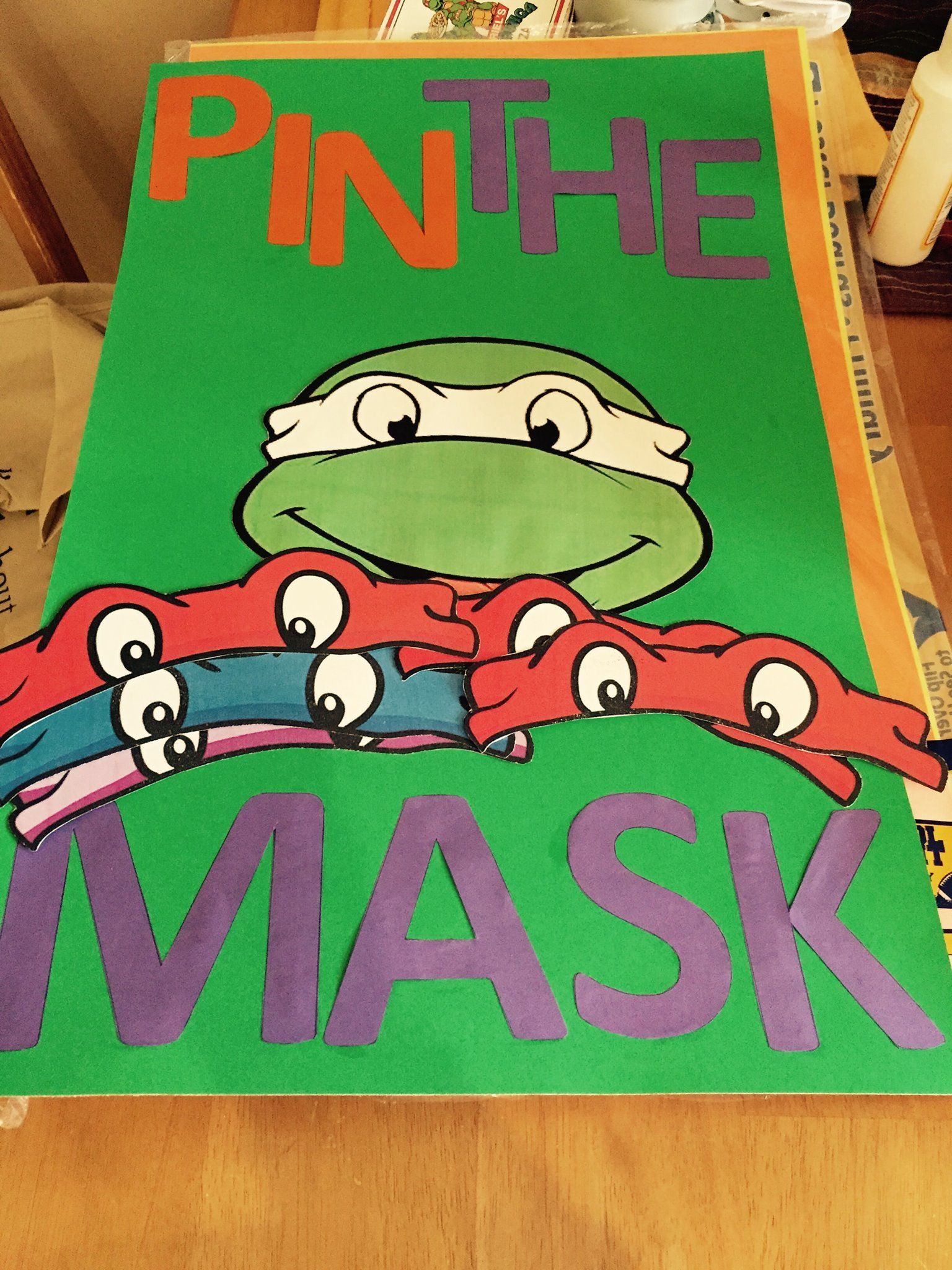 Pin The Mask On The Turtle Game Tmnt Birthday Party Ideas Turtle Birthday Parties Tmnt Birthday
