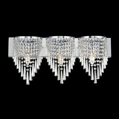 Zlite 868Ch3V Tango 3Light Crystal Vanity Light  *lighting Extraordinary Crystal Vanity Lights For Bathroom Design Ideas