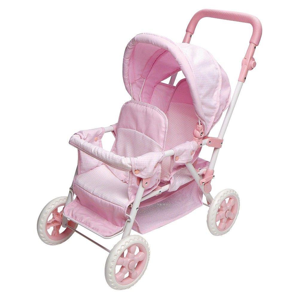 Badger Basket Double Doll Stroller Pink & White Gingham