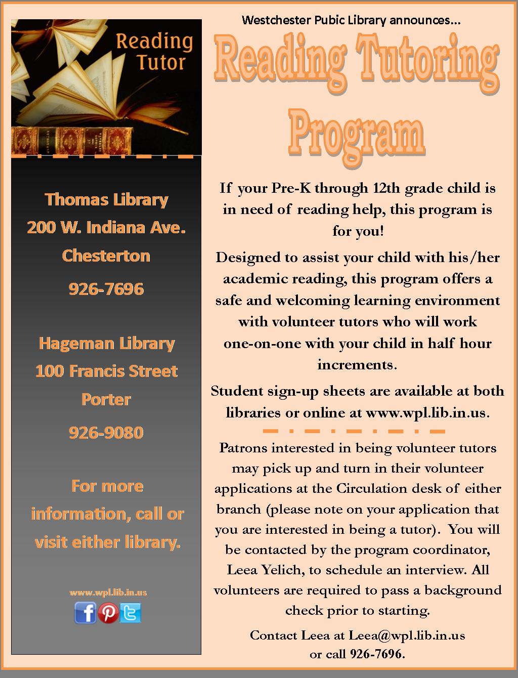 Kids need reading help?  WPL can help. #literacy #nwIndiana #ILoveMyLibrary