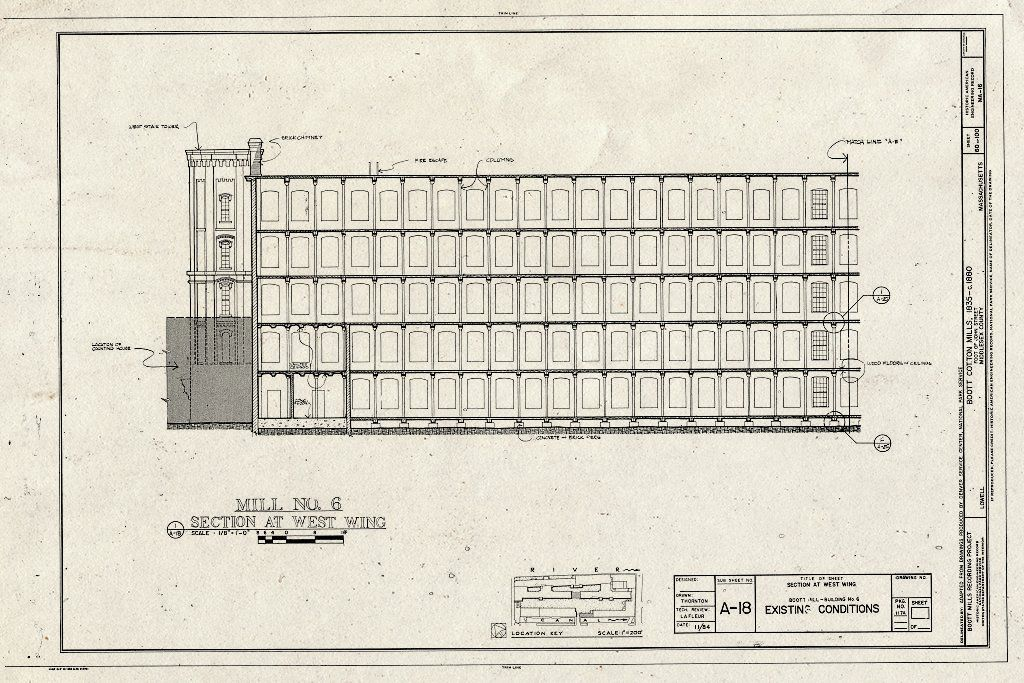 Historic Pictoric Blueprint Mill No 6 Section at West Wing Existing Conditions Boott Cotton Mills John Street at Merrimack River Lowell Middle County MA