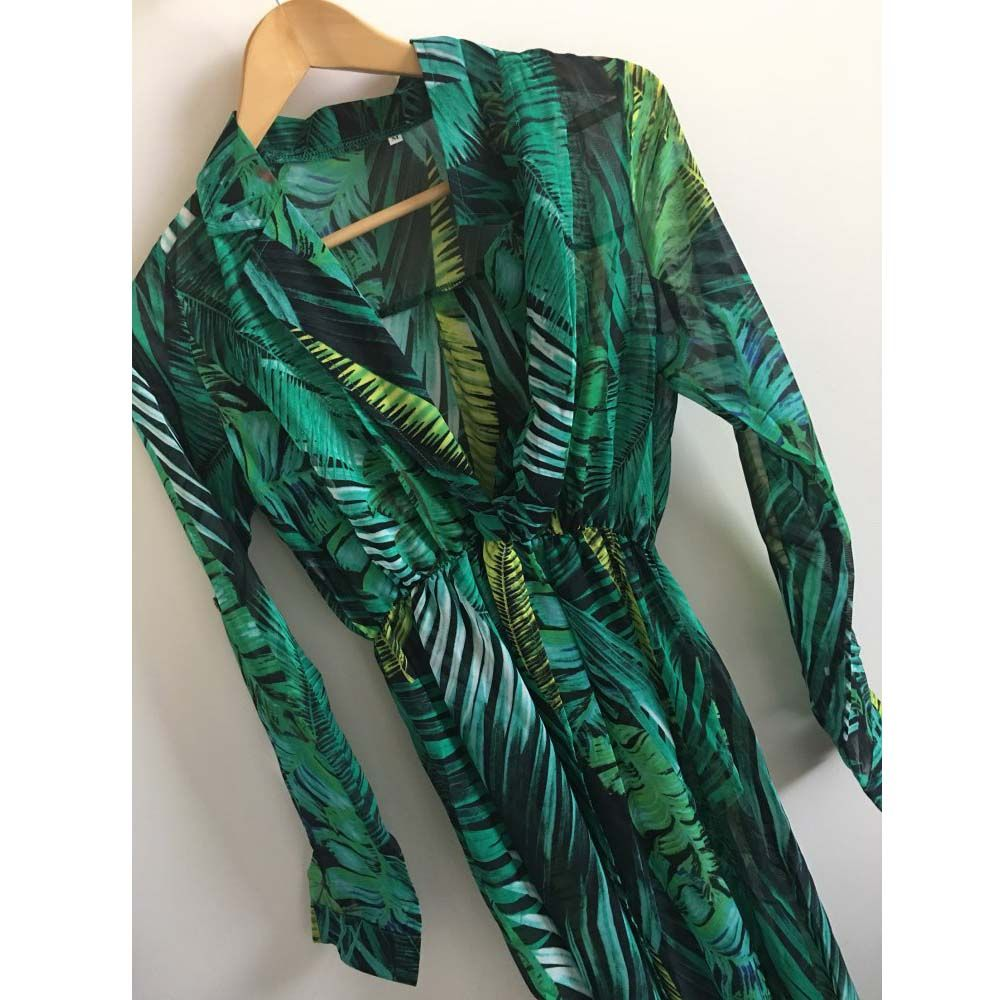 Palm leaf summer beach maxi dress price and free shipping