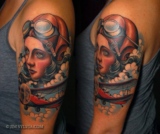 New School Aviator Tattoo by Jim Sylvia
