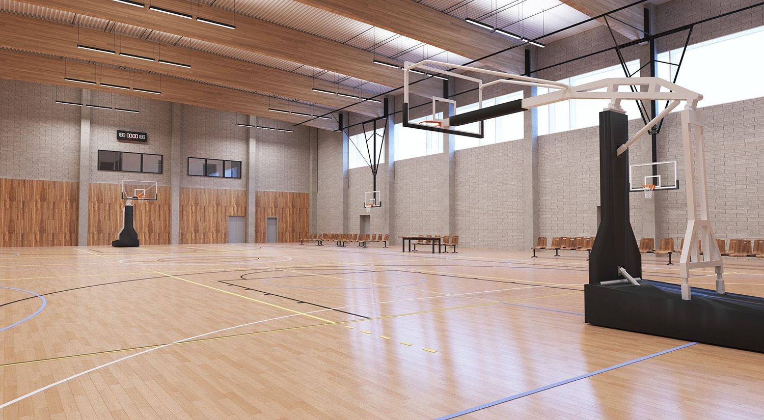 Wooden sports hall. dotimages architectural visualization