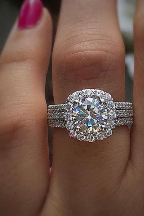 2 89ct Brilliant Cut Diamond Halo Engagement Ring Band 925 Sterling Silver Jewelry Watches Wedding Rings Ebay