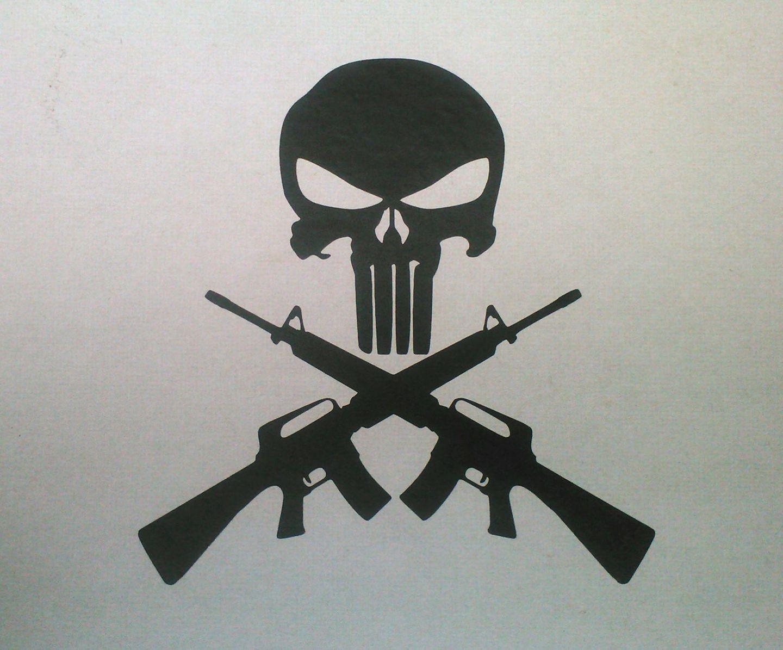 Fusil Dessin Punisher Tatouages De Cranes