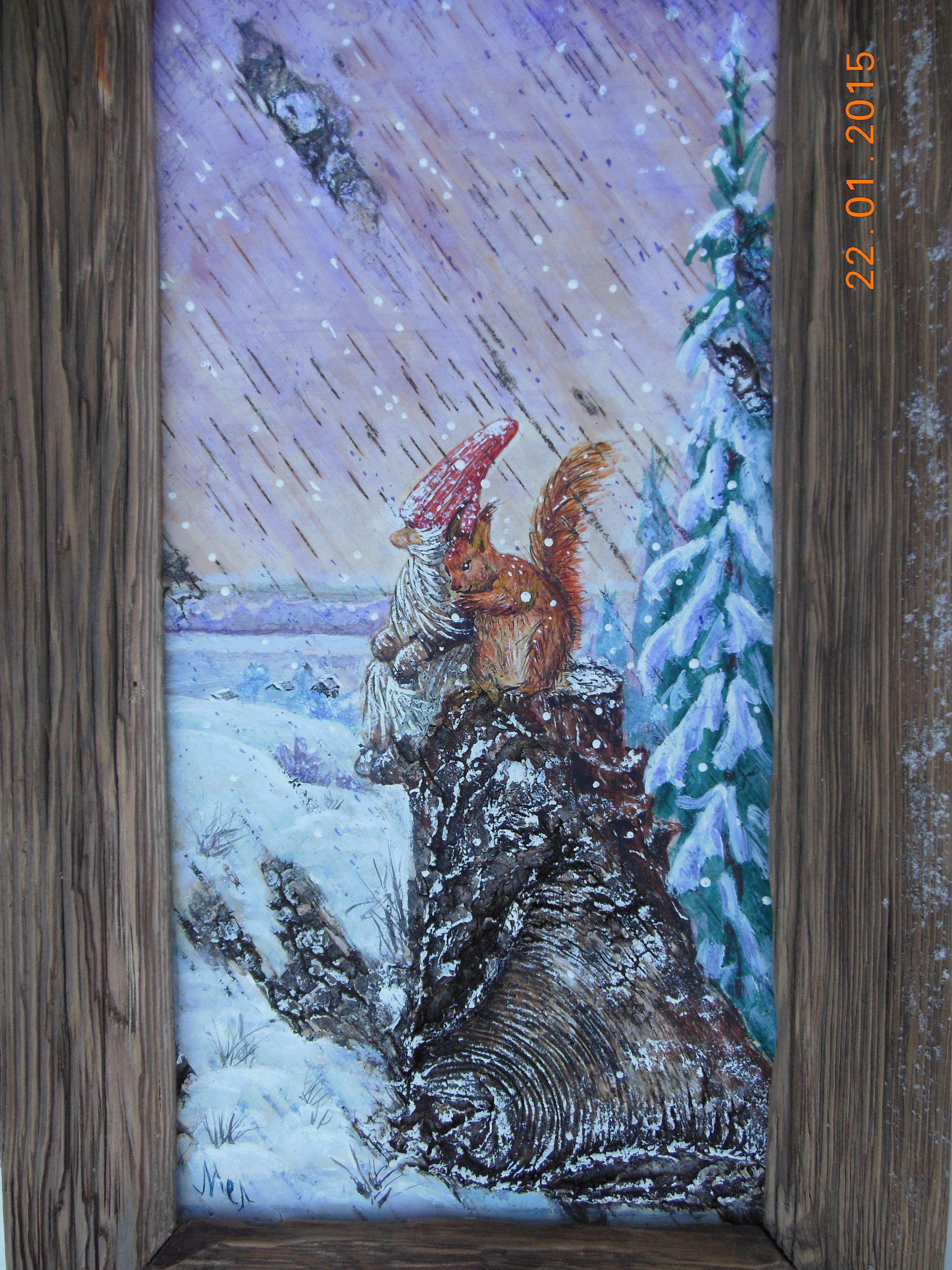 картина на бересте, Гном и белка, зимний ветер, пень